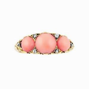 Edwardian Coral Three Stone